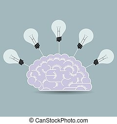 Light bulb concept design, isolated on gray background.
