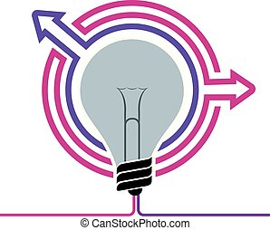 Light bulb concept design, isolated on white background.
