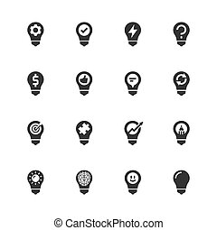 Light Bulb Concept Icons in Glyph Style