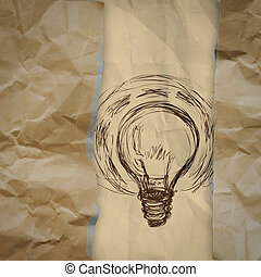 light bulb crumpled paper and recycle tear envelope as creative concept background