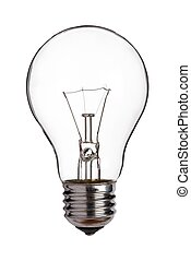 Light bulb, cut out on white.