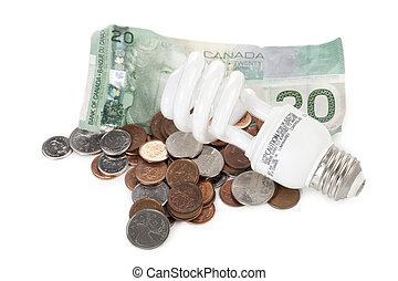 light bulb dollar and coins