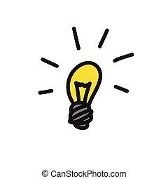 light bulb doodle icon, vector color illustration