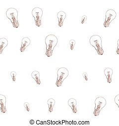 light bulb doodle seamless pattern on white background. vector