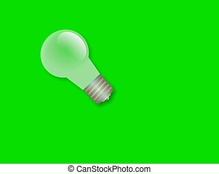 Light Bulb - One light bulb against a green background.