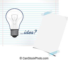 Light bulb drawn on a paper sheet