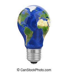 Light Bulb Earth Isolated