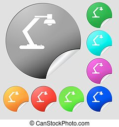 light, bulb, electricity icon sign. Set of eight multi colored round buttons, stickers. Vector
