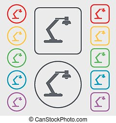 light, bulb, electricity icon sign. symbol on the Round and square buttons with frame. Vector