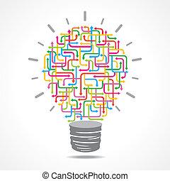 light-bulb, färgrik, pil