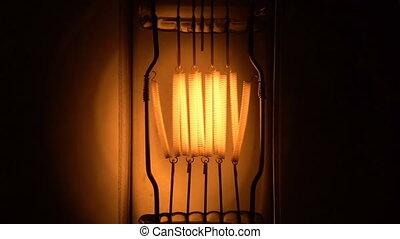 Light bulb filament glow slow flashing tungsten lightbulb....