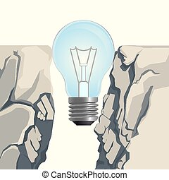 Light bulb filling rocky abyss isolated illustration on...