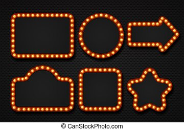 Light bulb frame. Makeup mirror marquee circus signboard cinema casino theater billboard lump border. 3D light frames