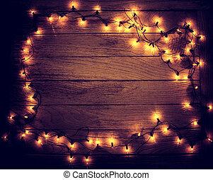 light bulb frame on wooden board for xmas