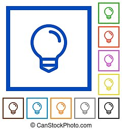 Light bulb framed flat icons