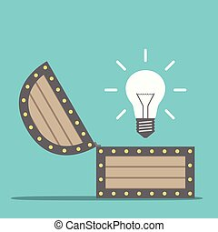 Bright glowing light bulb appearing from wooden treasure chest. Idea, insight and innovation concept. Flat design. EPS 8 vector illustration, no transparency