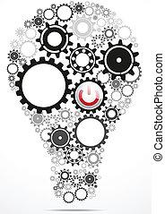 Light bulb gears inside with power - Vector Illustration Of...