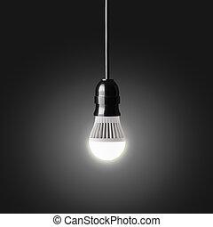 Glowing LED bulb on black