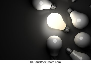 Light bulb glowing