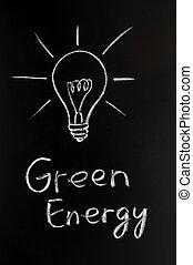 Light bulb, green energy