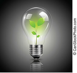 Light bulb green - Light bulb with green sprout inside, ...