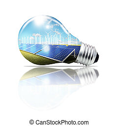 light bulb green,concept