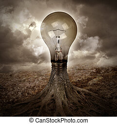 Light Bulb Growing an Idea in Nature