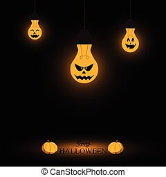 Light bulb halloween background