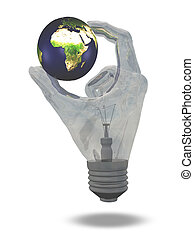 Light Bulb hand holds earth