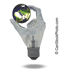 Light Bulb hand holds earth showing Middle East, Europe