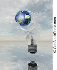 Light Bulb hand holds earth