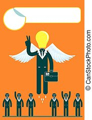 light bulb headed businessmen In the center of a group of people.