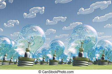 Light Bulb heads and dollar symbol clouds