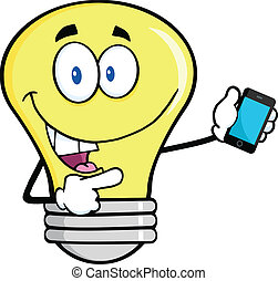 Light Bulb Character Holding A Mobile Phone