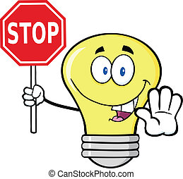 Light Bulb Holding A Stop Sign - Light Bulb Cartoon ...
