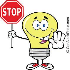 Light Bulb Cartoon Character Holding A Stop Sign