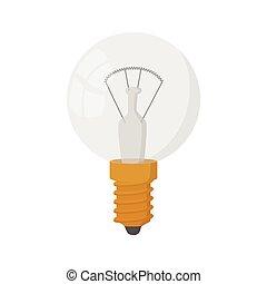 Light bulb icon, cartoon style