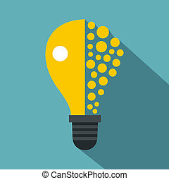 Light bulb icon, flat style