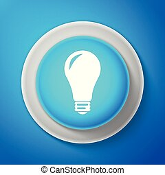 Light bulb icon isolated on blue background. Energy and idea symbol. Lamp electric. Circle blue button. Vector illustration