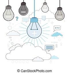 Light Bulb Icon New Idea Business Concept Thin Line