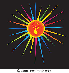 light bulb icon on a colorful star - brilliant idea concept.