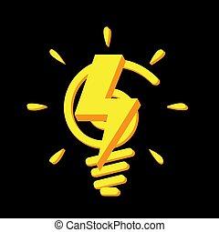 Light bulb icon on black background.