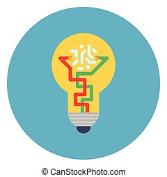 Light Bulb Icon On Blue Round Background New Idea Concept