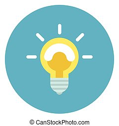 Light Bulb Icon On Round Blue Background