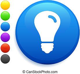 light bulb icon on round internet button original vector...