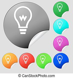 Light bulb icon sign. Set of eight multi colored round buttons, stickers. Vector