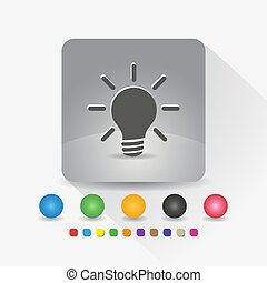 Light bulb icon. Sign symbol app in gray square shape round corner with long shadow vector illustration and color template.