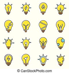 Light bulb icons collection in trendy flat style isolated on white background.