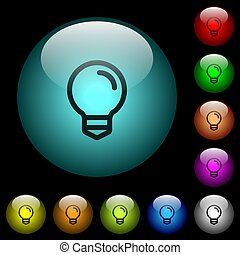 Light bulb icons in color illuminated glass buttons