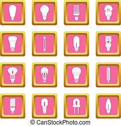 Light bulb icons pink